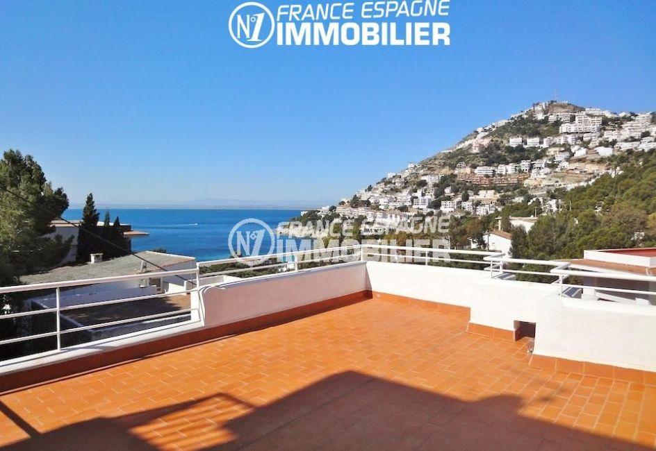 agence immobilière costa brava: villa 133 m², terrasse avec magnifique vue mer