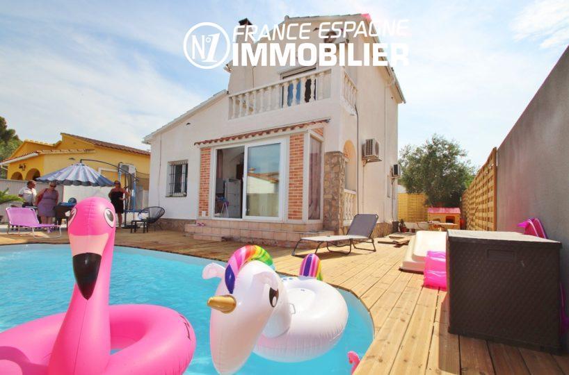 maison a vendre espagne costa brava, 150 m², proche plage avec jardin, piscine, 3 chambres