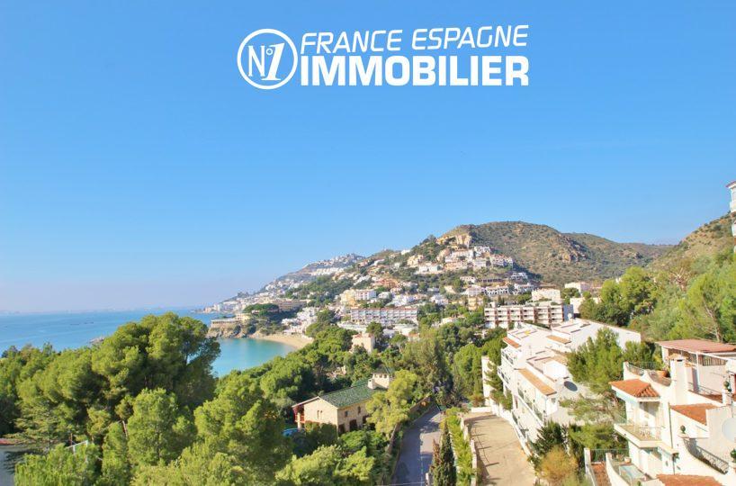 vente maison costa brava, villa 83 m² vue mer, proche plage Roses à pied