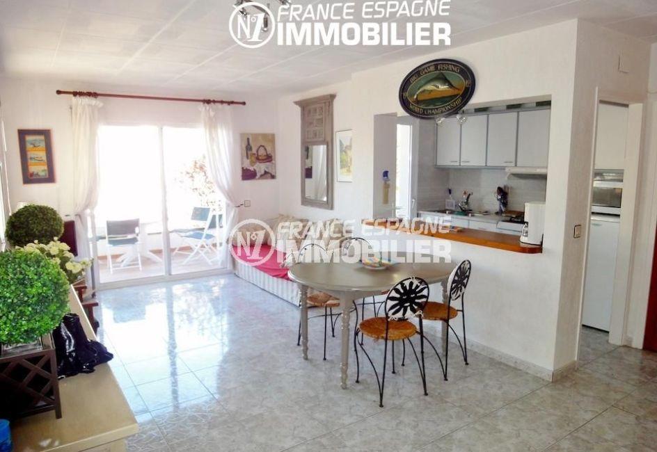 maison a vendre rosas vue mer, canyelles, salon / séjour avec accès terrasse