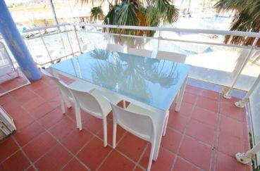 vente appartement rosas espagne, piscine, terrasse de 14 m² coin repas aménagé