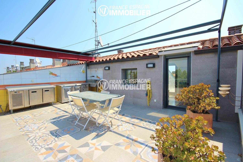 appartement costa brava, 139 m² + terrasse 66 m² sur le toit, 3 chambres, piscine