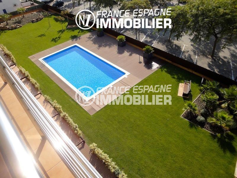 espagne roses: appartement 85 m² atico dans résidence avec piscine