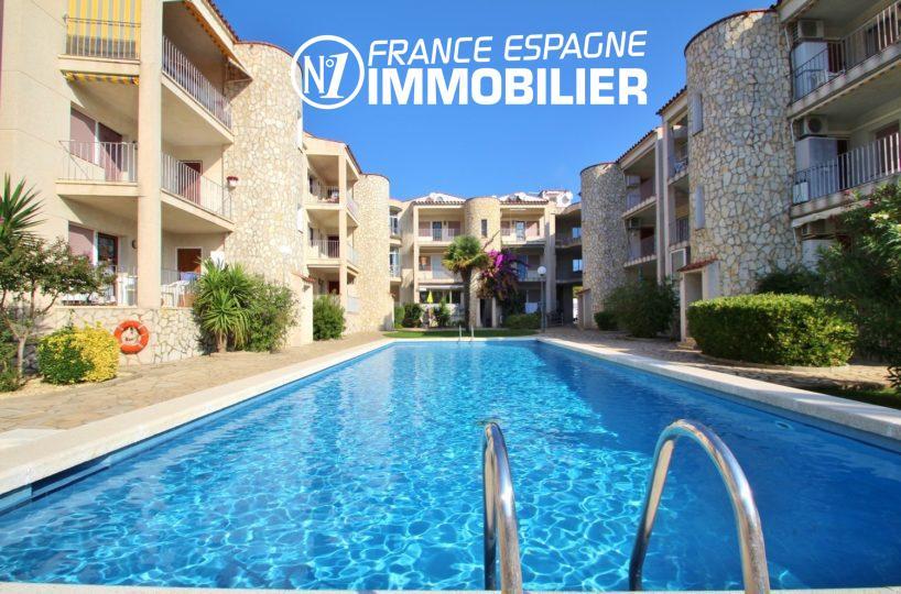 agences immobilières empuriabrava: appartement 68 m² à vendre, terrasse vue canal, piscine