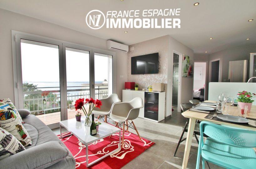 immobilier costa brava: appartement ref.2879, séjour lumineux avec accès terrasse 10 m²