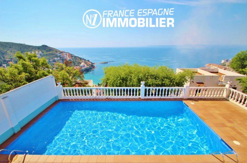 immo roses: villa avec terrasse vue mer, 3 chambres, piscine communautaire