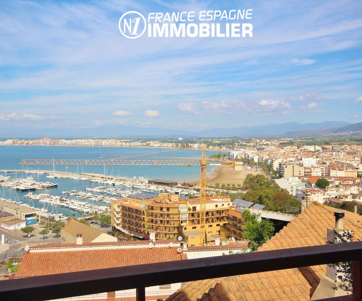 vente appartement rosas, vue mer, 700 m de la plage et des commerces, exposition ouest