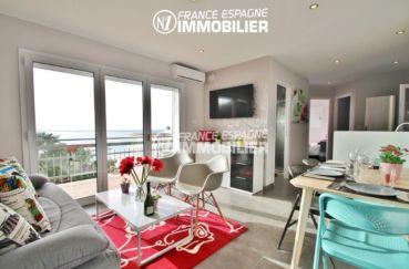agence immobilière rosas: appartement ref.2879, grand séjour avec superbe vue mer