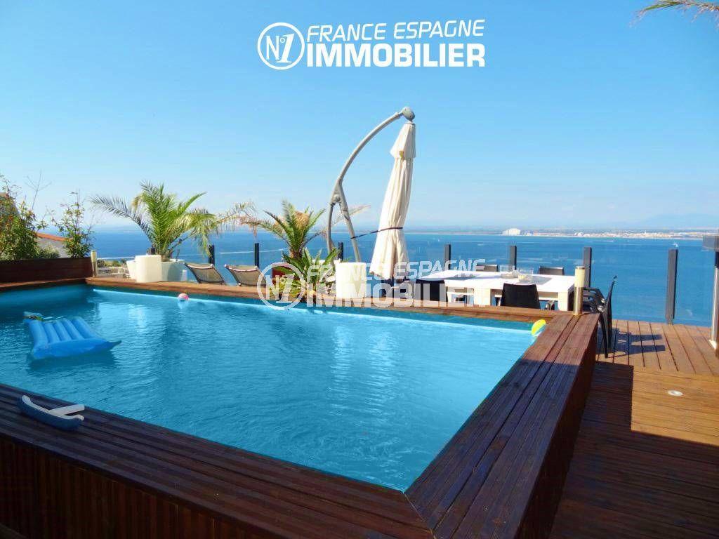 immobilier roses espagne: villa ref.312, aperçu de la piscine avec une splendide vue mer