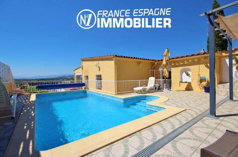 Immobilier Roses- villa exposition ouest, proche plage,vue sur la piscine