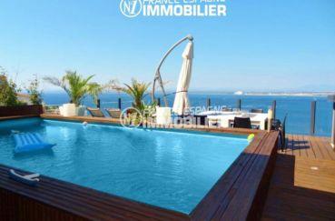 immo roses espagne: villa ref.312, vue mer imprenable, piscine, garage