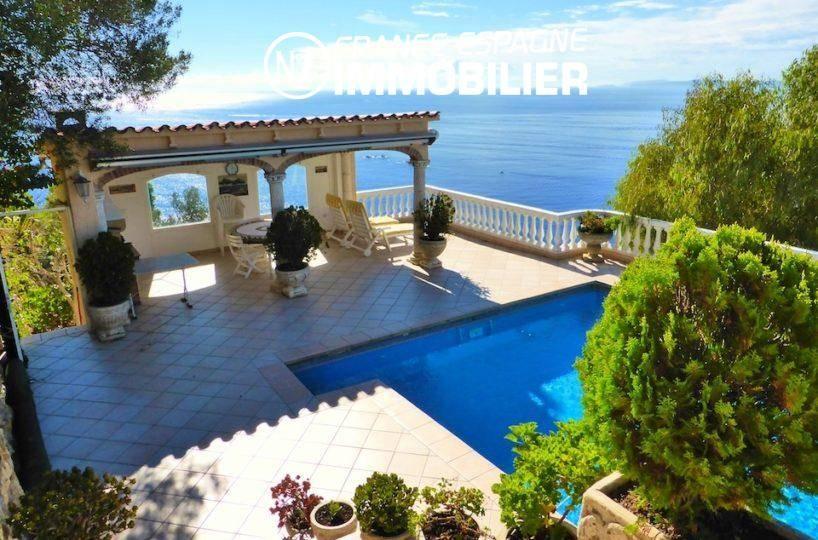 maison a vendre rosas, ref.1924, aperçu de la piscine, coin détente vue mer splendide