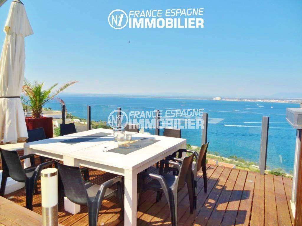 rosas immo: villa ref.312, coin détente / repas avec vue mer imprenable