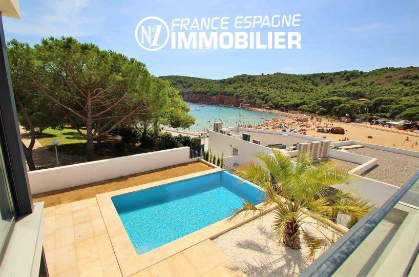 maison costa brava, ref.3268, vue sur la piscine et la mer depuis la terrasse