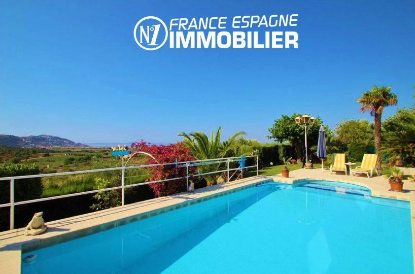 immobilier roses espagne: villa ref.2606, vue plongeante sur la piscine, vue mer
