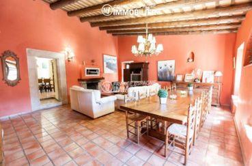 vente maison costa brava, ref.3306, salon / séjour avec poutres apparantes et accès à la terrasse
