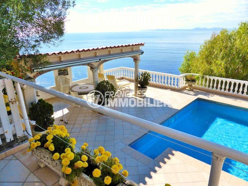 maison a vendre espagne costa brava, ref.1924, vue sur la piscine de la terrasse