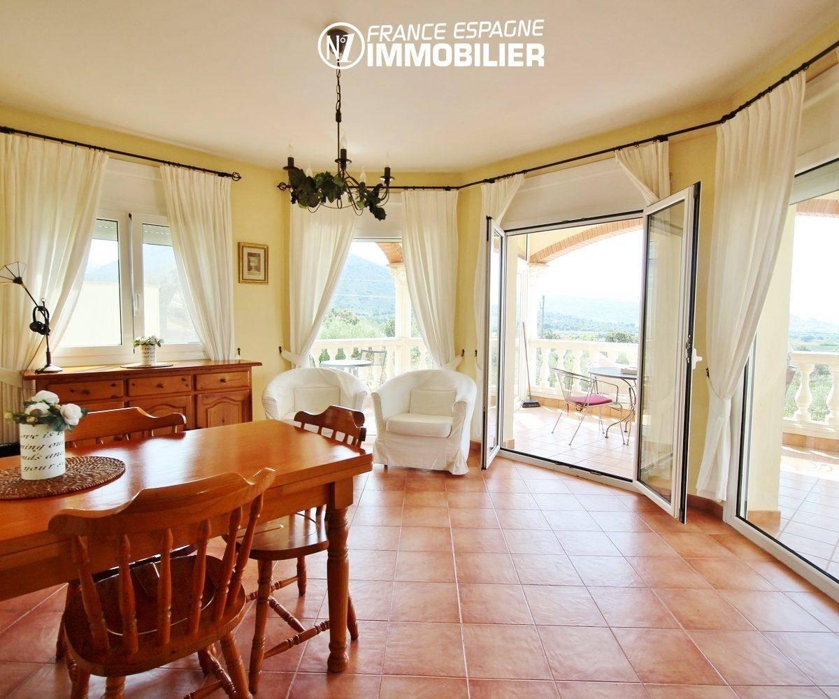 vente immobilière rosas: villa ref.730, la salle à manger à l'étage, avec vue mer