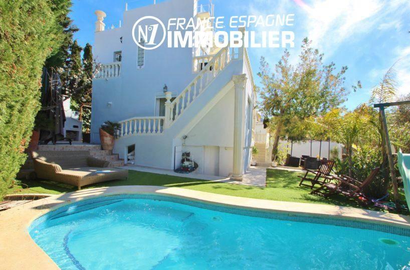 maison a vendre a rosas, avec piscine privée, jardin, solarium & vue mer