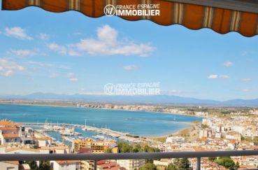 immo rosas: parking, vue imprenable sur la mer depuis la terrasse de 18 m² accès salon