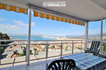 vente appartements rosas espagne, vue mer, terrasse avec bâche déroulante coupe vent