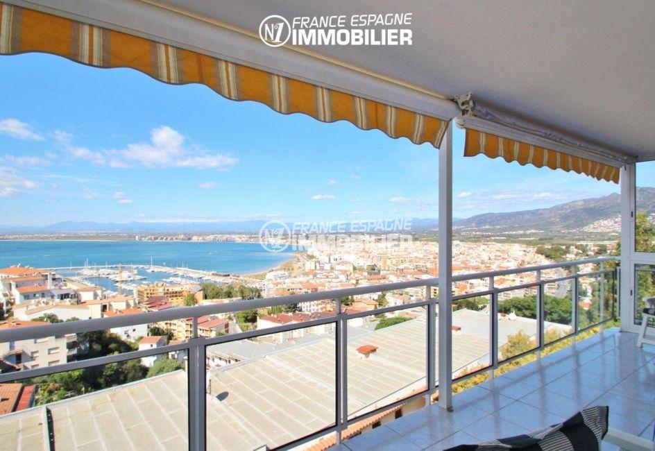appartement à vendre à rosas espagne, 80 m², terrasse de 18 m² espace détente vue mer