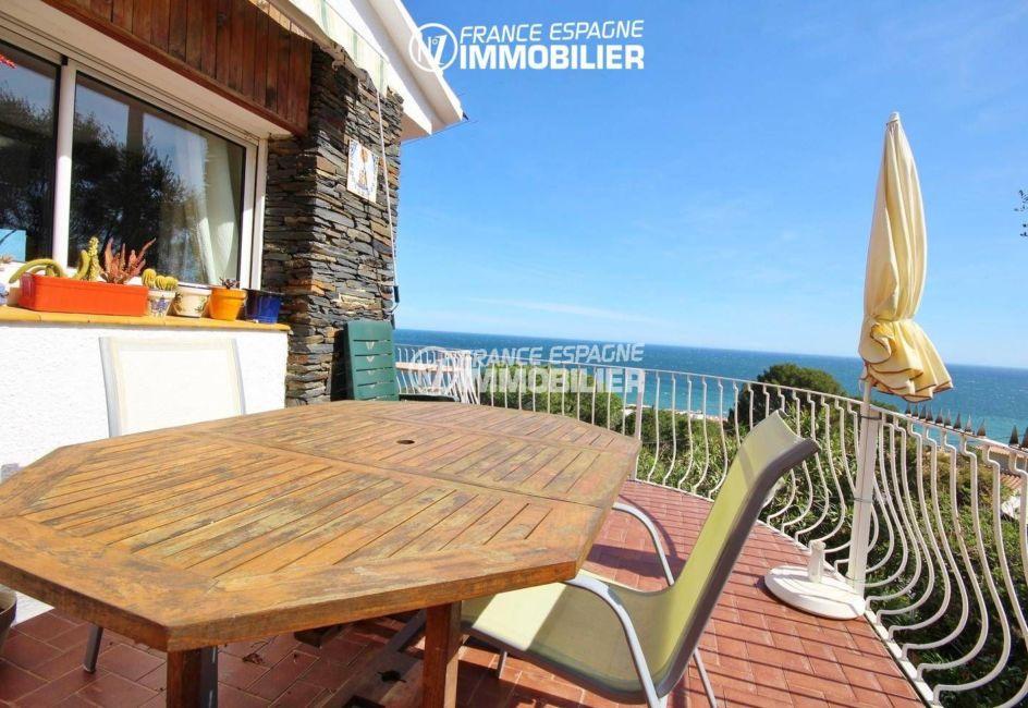 immobilier llanca: vente villa 152 m², ref.3399, terrasse accès salon vue mer / montagnes
