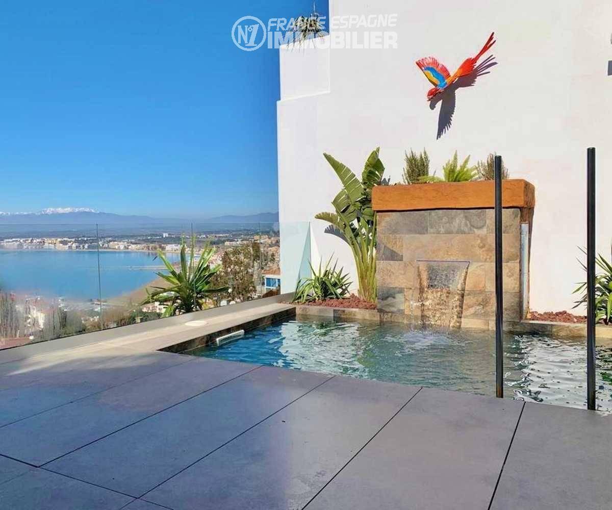 immo costa brava: villa ref.3433, vue mer et piscine avec cascade depuis la terrasse