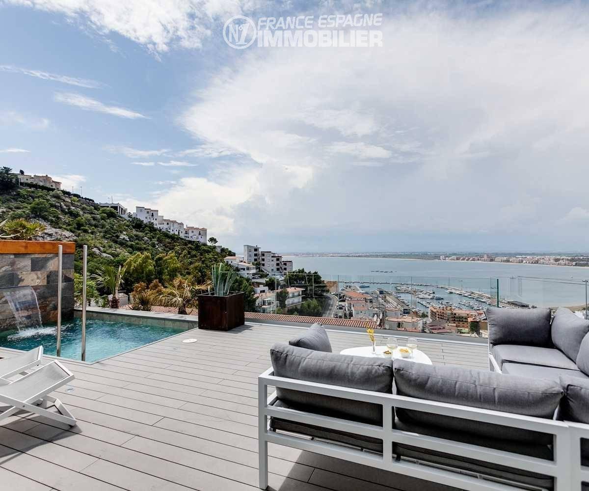 maison costa brava, ref.3433, superbe vue sur le port de Roses