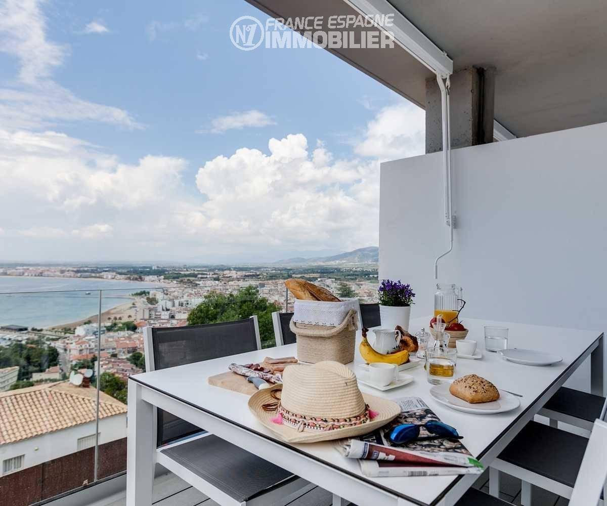 achat roses espagne: villa ref.3433, petit déjeuner sur la terrasse, vue panoramique