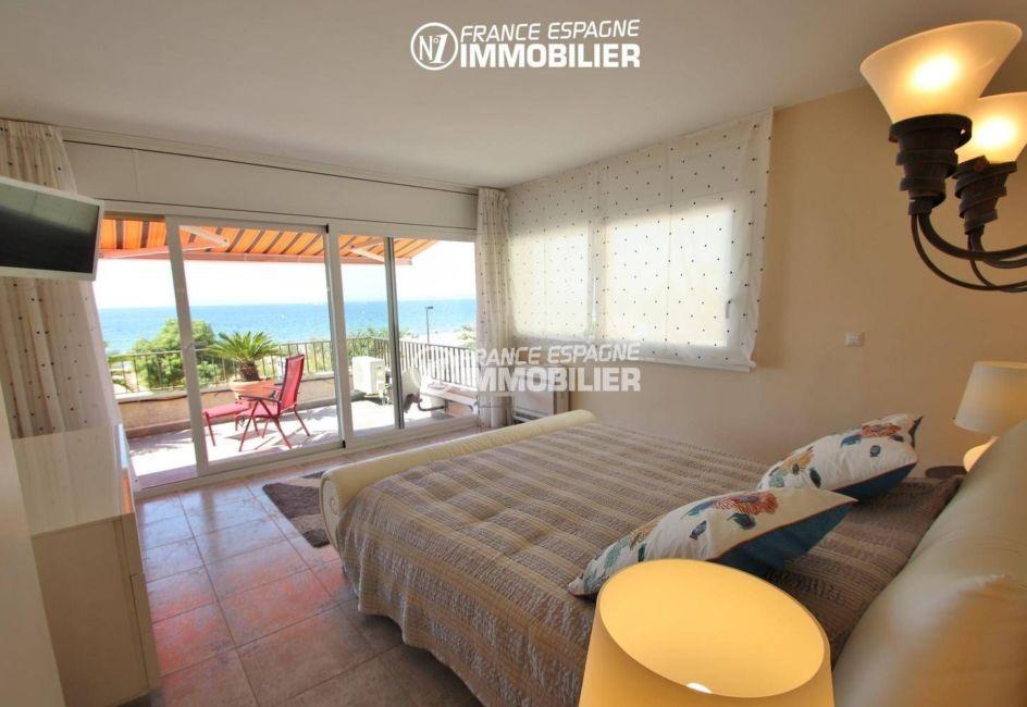 appartement rosas achat, plain-pied, troisième chambre lit double accès terrasse vue mer
