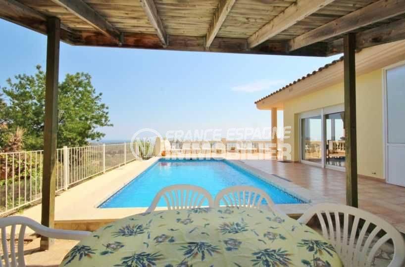maison costa brava, ref.3501, vue sur la piscine depuis la terrasse coin repas