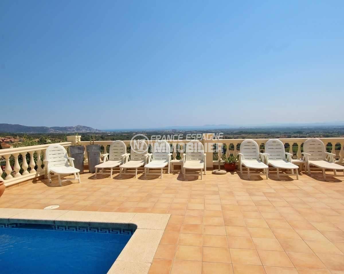 maison a vendre espagne costa brava, ref.3501, espace détente vue mer depuis la piscine