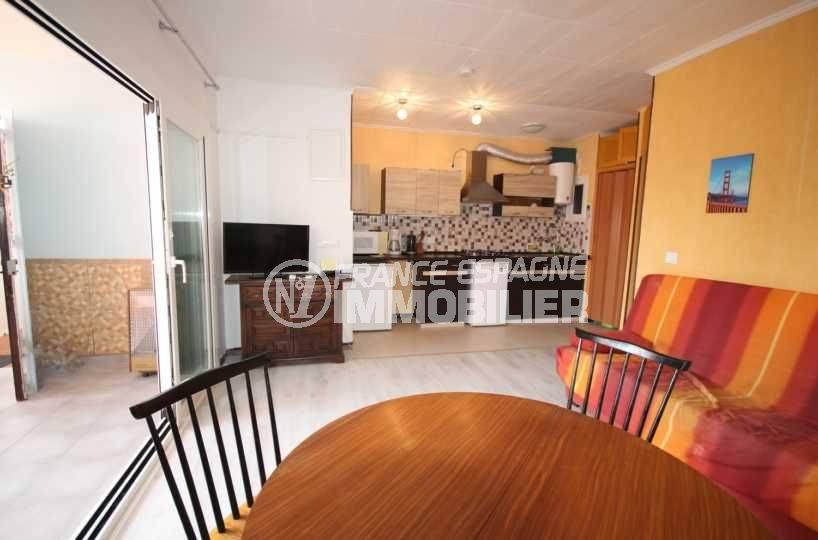 vente appartement rosas, ref.3493, vue séjour salle à manger