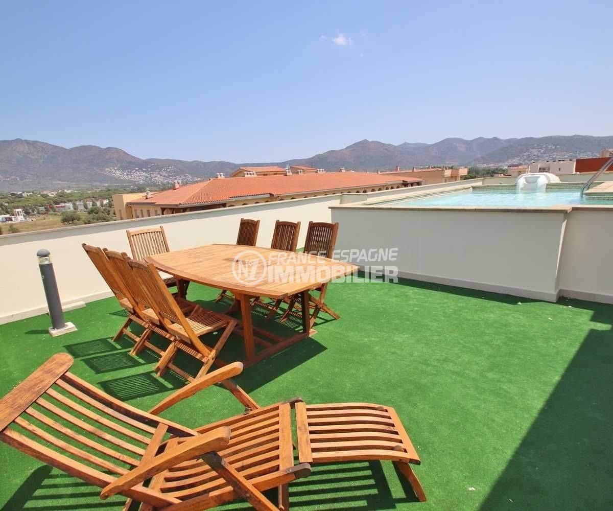 appartement a vendre rosas, ref.3482, solarium 63 m² sur le toit proche de la piscine