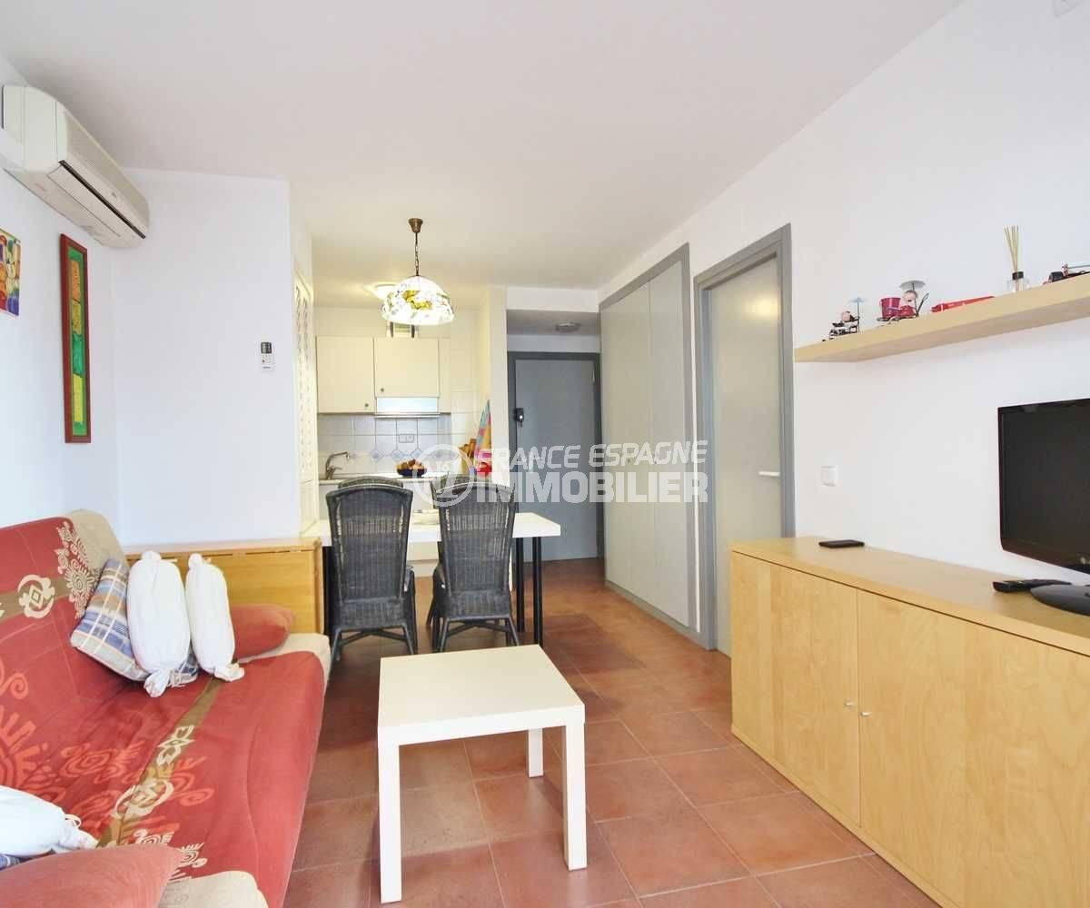 rosas immo : appartement Santa Margarita Rosas vue salon, salle à manger