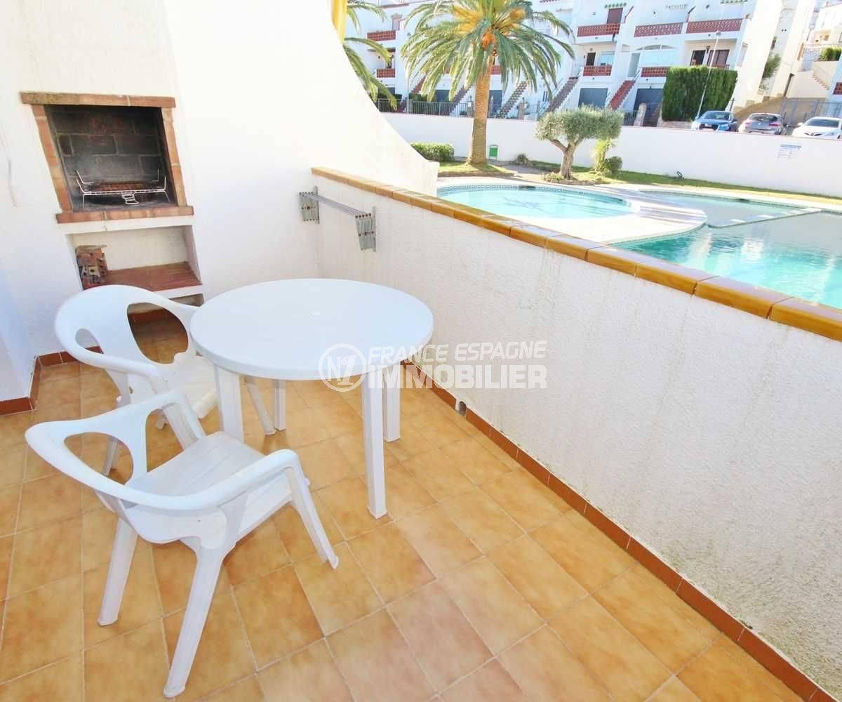 Roses Puig Rom appartement 1 chambre terrasse vue piscine