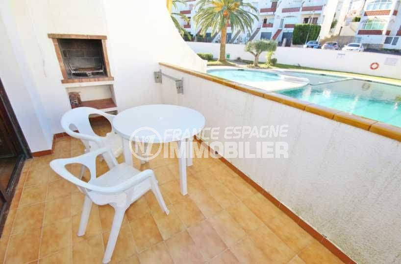 Roses Puig Rom appartement 1 chambre terrasse vue piscine