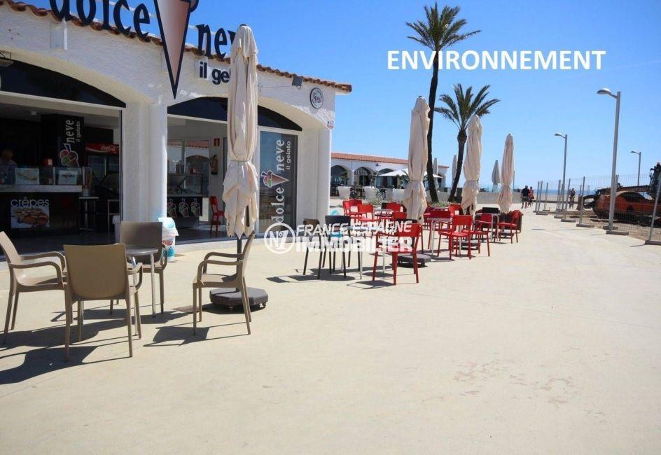 terrasses de restaurants, commerces aux alentours