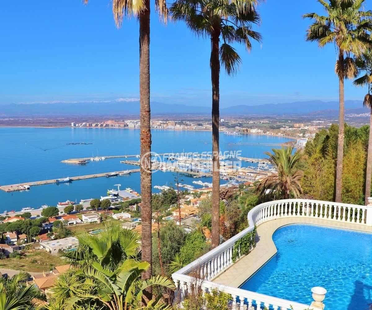 maison a vendre costa brava, ref.3614, aperçu de la piscine et la baie de rosas depuis la terrasse