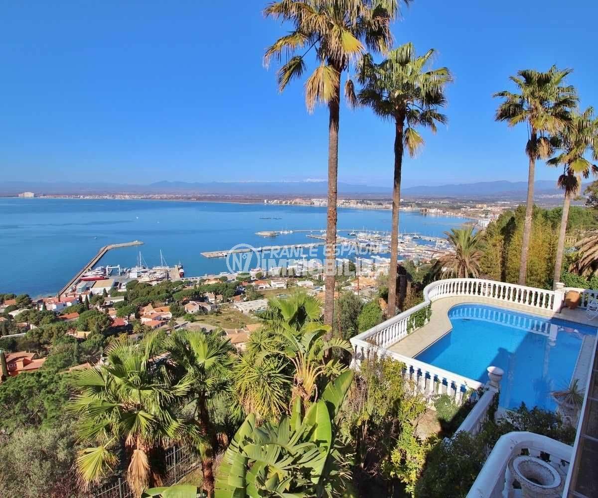 immo costa brava: villa ref.3614, magnifique vue sur la baie de Roses depuis la terrasse