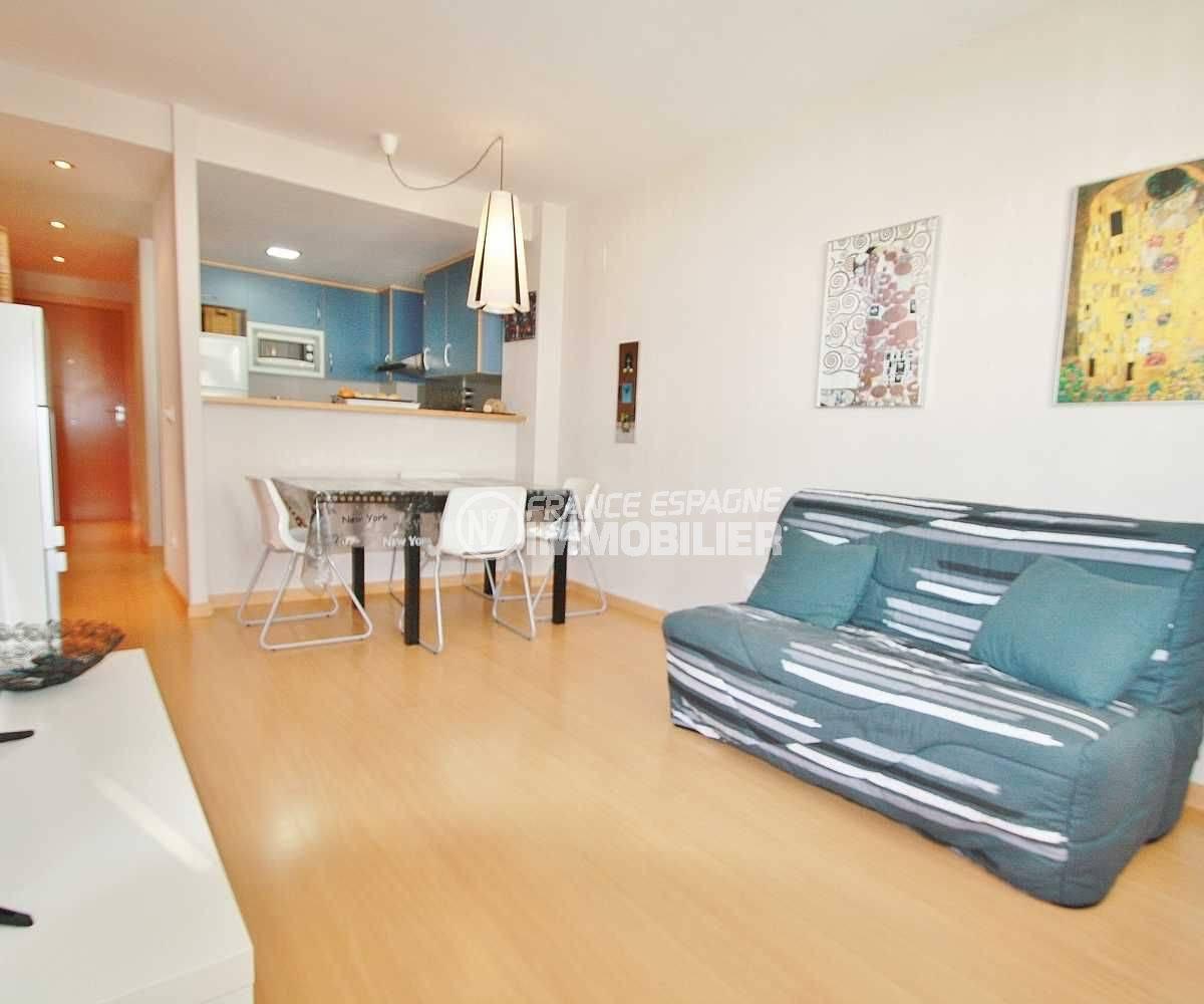 vente appartement rosas, ref.3606, séjour / salle à manger & la cuisine américaine