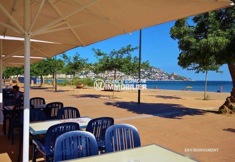 immo espagne costa brava: studio ref.3644, aperçu d'un restaurant près de la plage