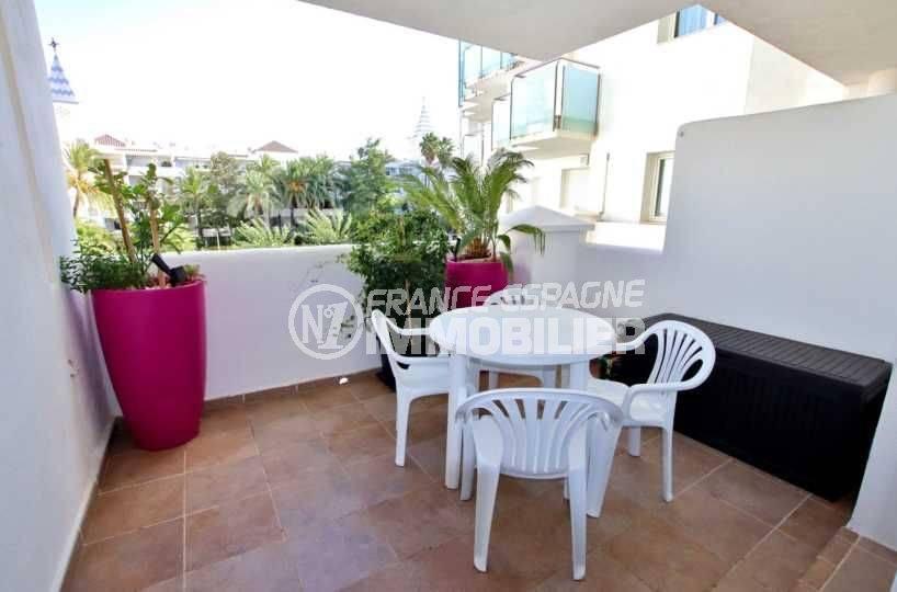 appartement a vendre rosas, ref.3665, 60 m² meublé, piscine, terrasse, proche commerces