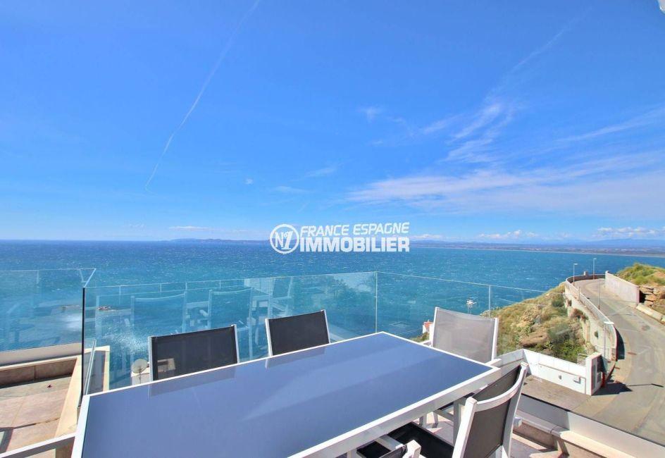 vente immobilier rosas espagne: villa 216 m², coin détente repas, vue mer imprenable