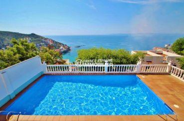 immobilier à rosas espagne: villa 65 m², aperçu de la piscine communautaire vue mer