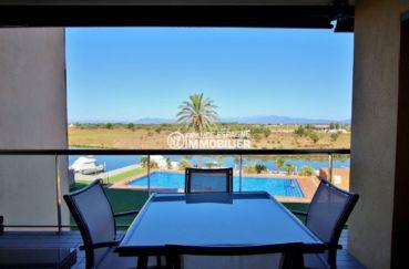 vente appartement rosas, 69 m², résidence standing avec vue canal et parc naturel, parking et cave privé