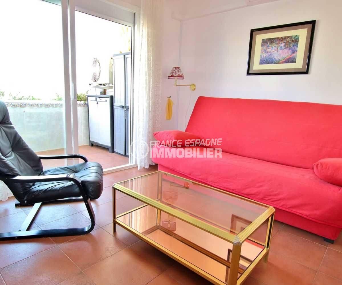 appartement a vendre rosas: ref.3739, vue sur le séjour & la terrasse
