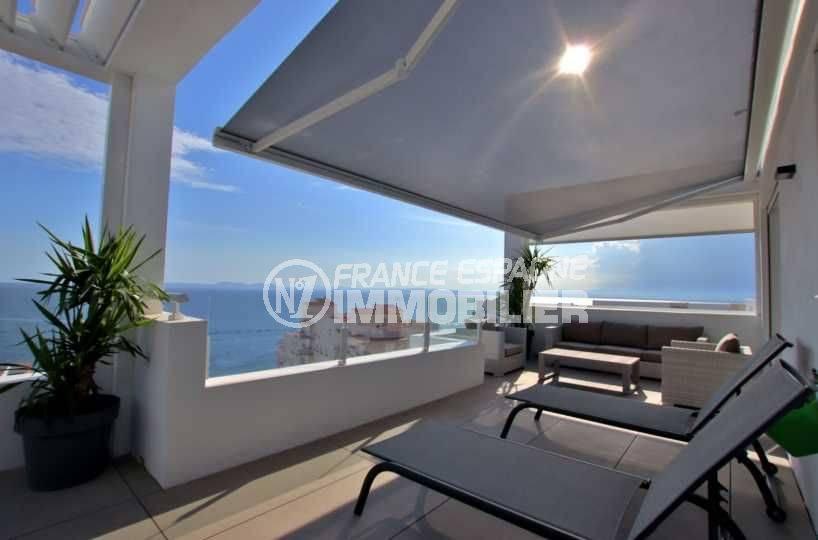 vente appartement rosas, atico standing, vue mer imprenable, jacuzzi et parking, proche plage
