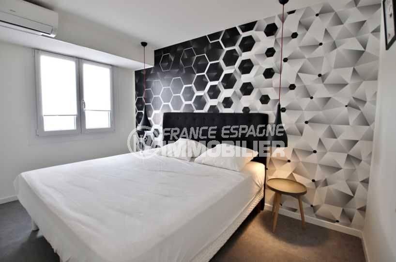 immo espagne costa brava: appartement ref.3760, première chambre moderne avec lit double